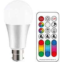 LightAurora B22 Colour Changing Light Bulb with Remote Control, 10W Bayonet RGB LED Light Bulbs, 120 Colours, Timer, RGB+Cool White(6500K) (1 Pack)-2018 Newest Version