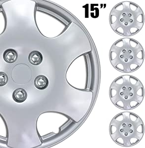 """BDK (4-Pack) Premium 15"""" Wheel Rim Cover Hubcaps OEM Style Replacement Snap On Car Truck SUV Hub Cap - 15 Inch Set"""