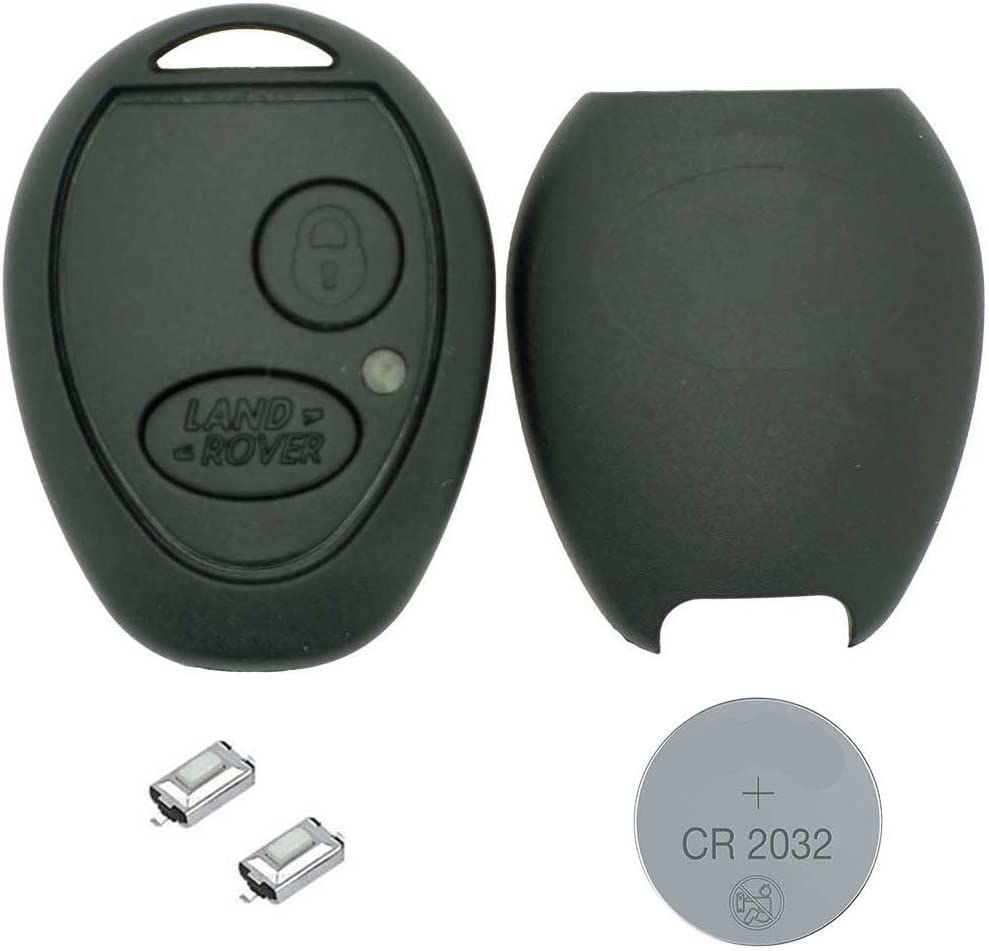 RKFUK - DIY Repair Kit - for Landrover Discovery 2 TD4 TD5 2 Button Replacement Car Key Fob Casing with Logo 2 x Micro Switches and a New Battery for Land Rover and Range Rover Remote Ke