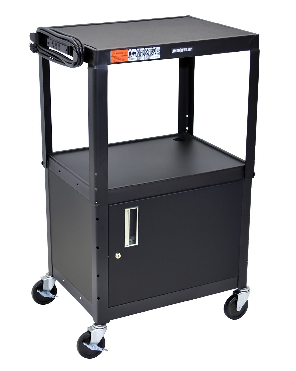 Luxor Multipurpose Adjustable Height Steel A/V Utility Cart with Cabinet - Black by Luxor
