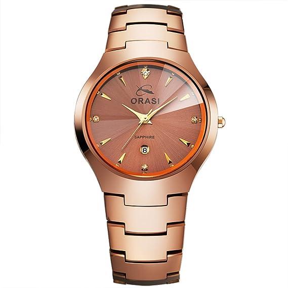 Relojes casuales/A prueba de agua reloj de acero de tungsteno/Reloj de cuarzo de chicos-D: Amazon.es: Relojes