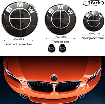 2pcs Black White BMW 82mm Hood Emblem//74mm Trunk Emblem for BMW Emblems Replaceme 6 7 8 series 325i 328i E Series
