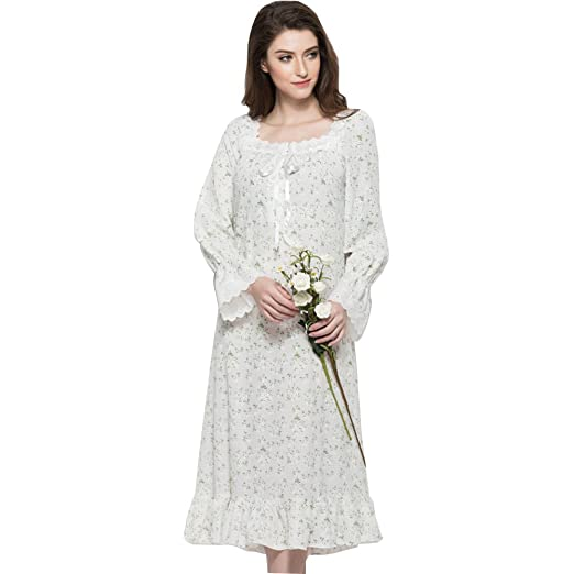 184656be38 LOVEHOUSE Women Sleepwear Robe Long Plus Size Cotton Long Sleeves Lace Trim Floral  Printed Nightgowns -