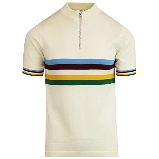 1960s – 70s Mens Shirts- Disco Shirts, Hippie Shirts Madcap England Mens Velo Cycling Top in Winter White �34.99 AT vintagedancer.com