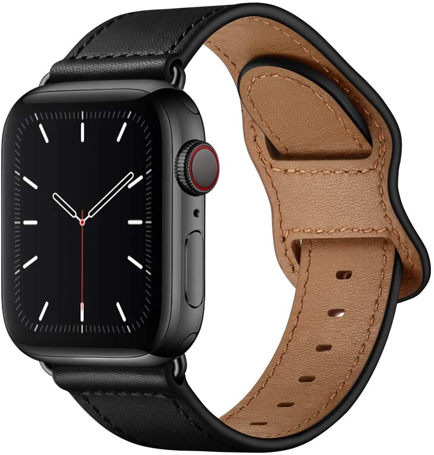 KYISGOS Compatible with iWatch Band 40mm 38mm 44mm 42mm, Genuine Leather Replacement Band Strap Compatible with Apple Watch SE Series 6 5 4 3 2 1 (Black/Black, 40mm/38mm)
