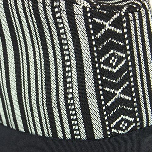 Chapeau Trilby à rayures Noir/blanc/motif pois et bandeau Noir