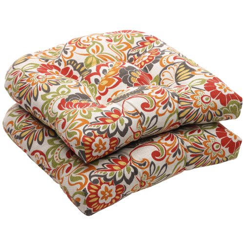 (Pillow Perfect Indoor/Outdoor Multicolored Modern Floral Wicker Seat Cushions, 2-Pack)