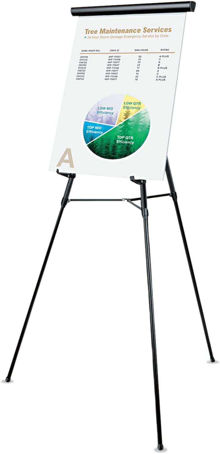 Black Aluminum Adjusts 34-Inch to 64-Inch Universal 43150 3-Leg Telescoping Easel with Pad Retainer