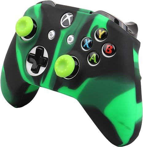Pandaren® cubierta de silicona Fundas protectores antideslizante Solamente para Xbox One S, Xbox One X Mando x 1 (verde negro) + Thumb grips x 2: Amazon.es: Videojuegos
