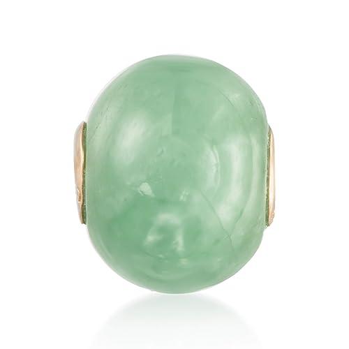 Ross-Simons 16mm Green Jade Bead Pendant in 14kt Yellow Gold
