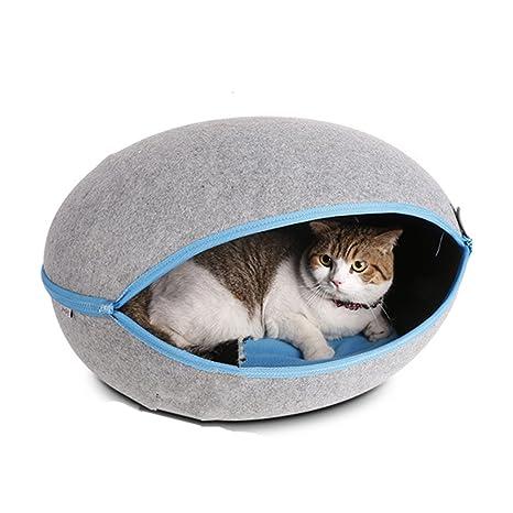 bailuoni Naturaleza fieltro mascota perro gato cachorro casa cama Caseta forma de huevo portable Pet Cave