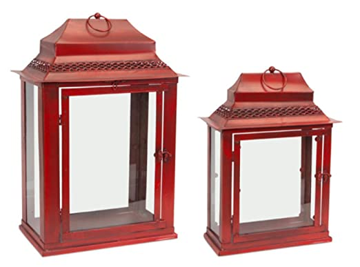 Christmas Tablescape Decor - Asian inspired antique red decorative glass and metal tabletop lanterns - Set of 2 by Melrose