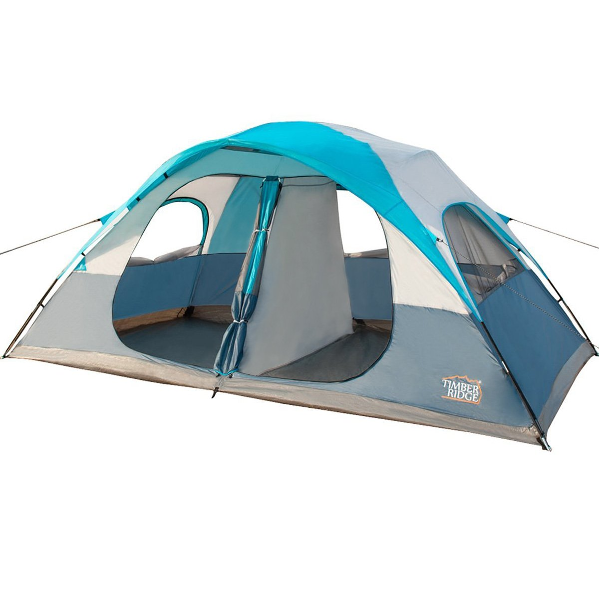 Timber Ridge WF140874TU 9x10x27-Inch 8-Person Tent with Carry Bag, 2 Doors and 2 Rooms, Turquoise