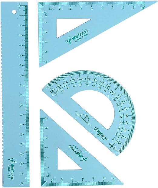 Cinhent 4 piezas de herramientas de geometría matemática, juego de reglas de plástico transparente, transportador, triángulo, geométrico dibujo boutique estándar juego de estudiante oficina regla de cuatro piezas: Amazon.es: Juguetes y juegos