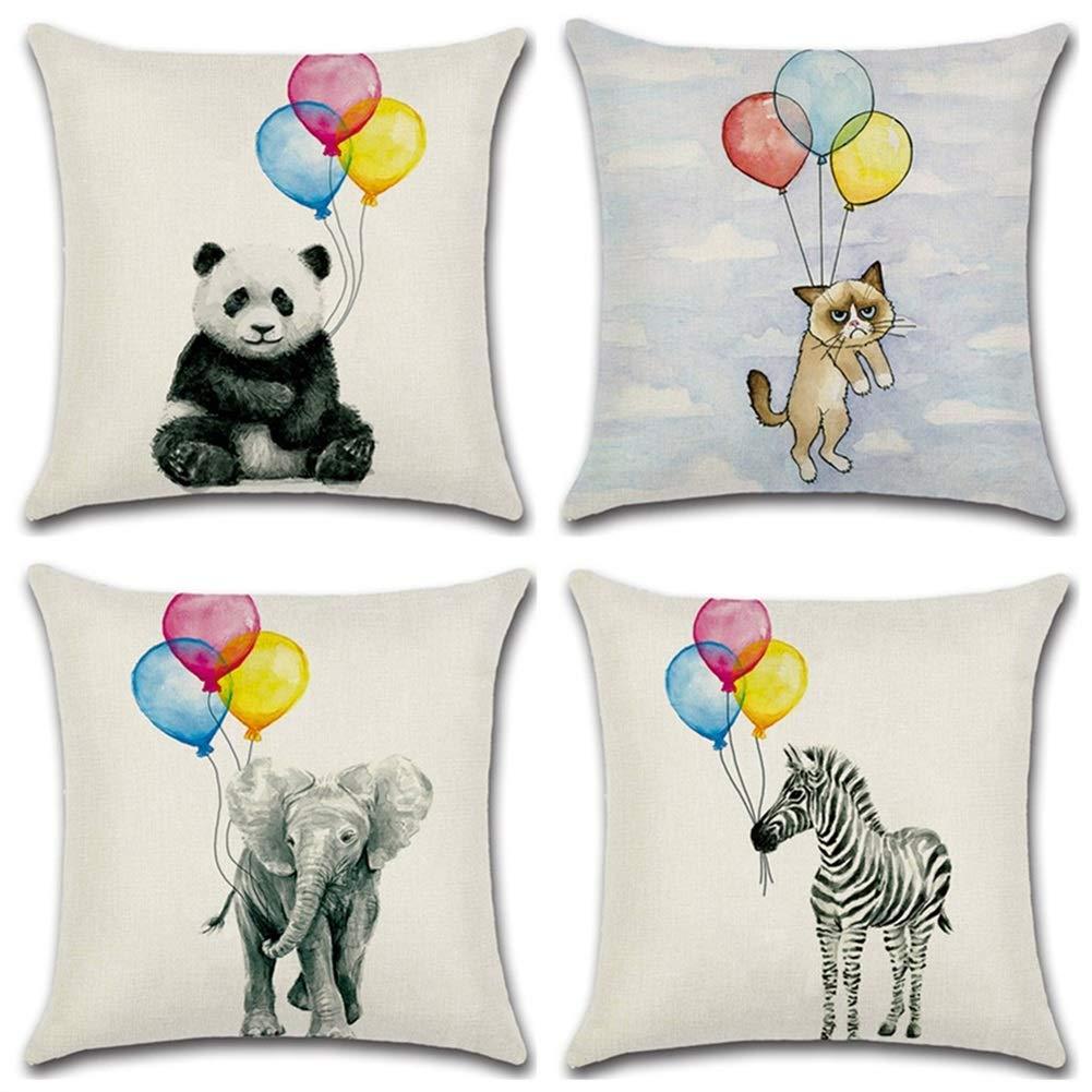 DZSW 装飾的な投球枕ユーロサイズカバーソファ、ソファ、またはベッドのための4 18 x 18 ''のセットのみモダン品質デザインユーロ枕 (Color : Animals and Balloons)  Animals and Balloons B07V8M9YMG