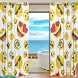SEULIFE Window Sheer Curtain Funny Emoji Smile Face Voile Curtain Drapes for Door Kitchen Living Room Bedroom 55x84 inches 2 Panels
