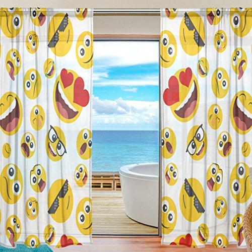 SEULIFE Window Sheer Curtain Funny Emoji Smile Face Voile Curtain Drapes for Door Kitchen Living Room Bedroom 55x84 inches 2 Panels by SEULIFE