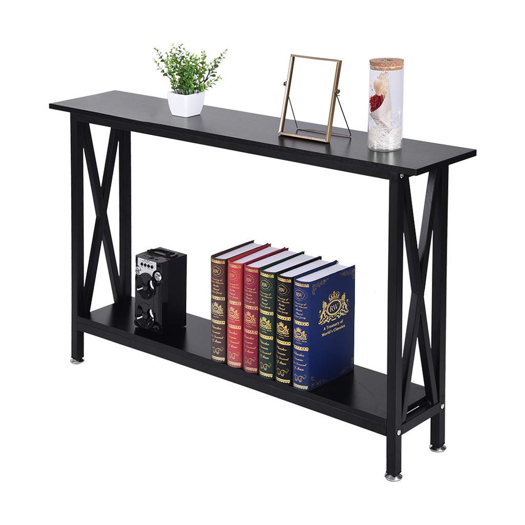 shamoluotuo Narrow Side End Table - Double Oxford Storage Table Display Shelf with 2 Tier Open Bottom Shelf Sofa Bedside End Table Simple Nightstand Narrow Desk Bookshelf (Black, 47.2×9.5×29.1in) by shamoluotuo-Furniture