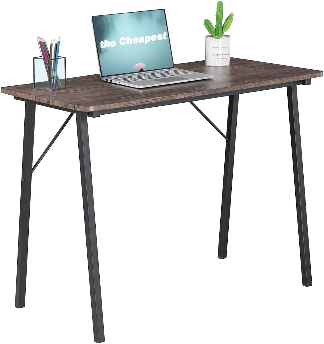 Simple Computer Desk Modern Wood Study Writing Table Small Industrial Home Office Work Desk with Metal Legs, 39.4 x 18.9 x 29.1 inch Game Tables, Walnut and Black