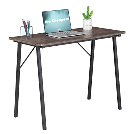 Simple Computer Desk Modern Wood Study Writing Table Small Industrial Home  Office Work Desk with Metal Legs, 39.4 x 18.9 x 29.1 inch Game Tables, ...