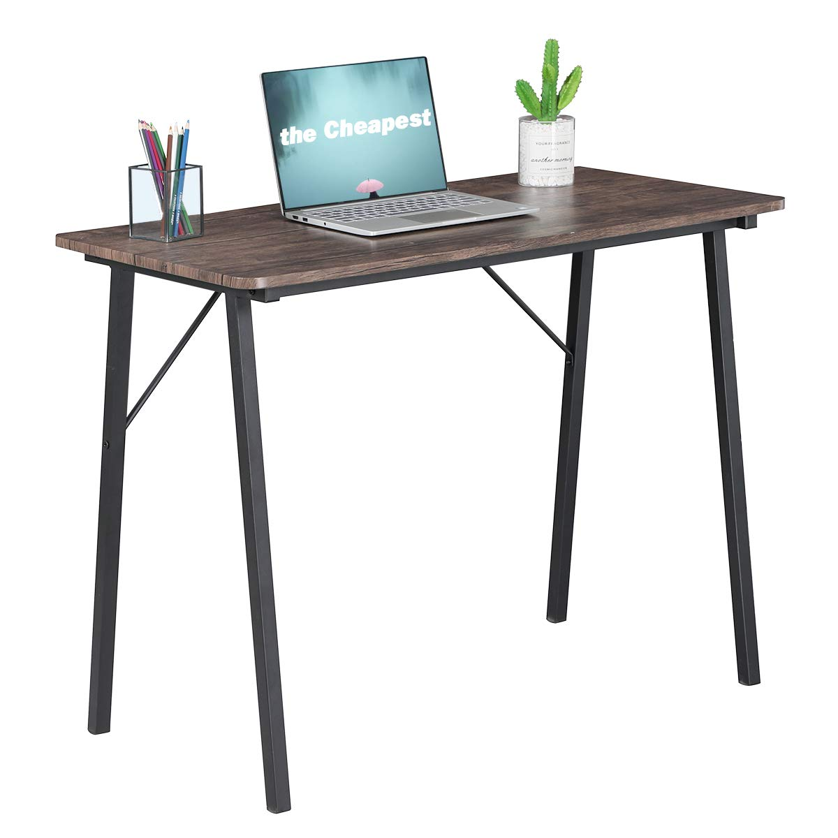 Simple Computer Desk Modern Wood Study Writing Table Small Industrial Home Office Work Desk with Metal Legs,39.4 x 18.9 x 29.1 inch, Walnut and Black