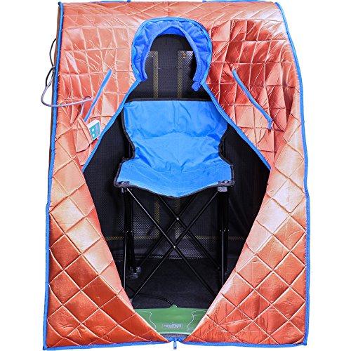DURHERM XLarge EMF FREE Negative Ion FIR Infrared Portable Indoor Sauna w/ Chair Footpad