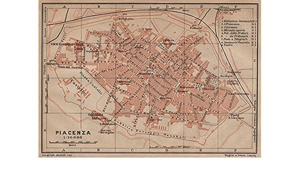 Italy mappa 1906 old PIACENZA antique town city plan piano urbanistico