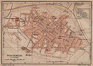 PIACENZA Antique Town City Plan Piano Urbanistico. Italy Mappa   1906   Old  Map