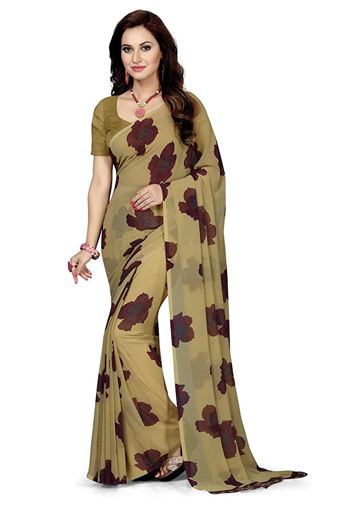 Beige Color Georgette Saree with Blouse Piece Collection