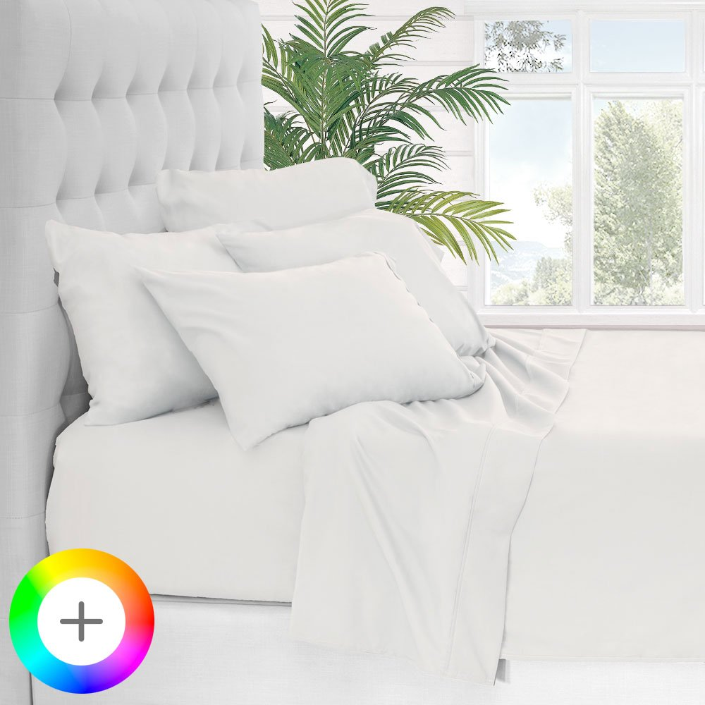 Bare Home 6 Piece 1800 Collection Deep Pocket Bed Sheet Set - Ultra-Soft Hypoallergenic - 2 EXTRA PILLOW CASES (Queen, White)