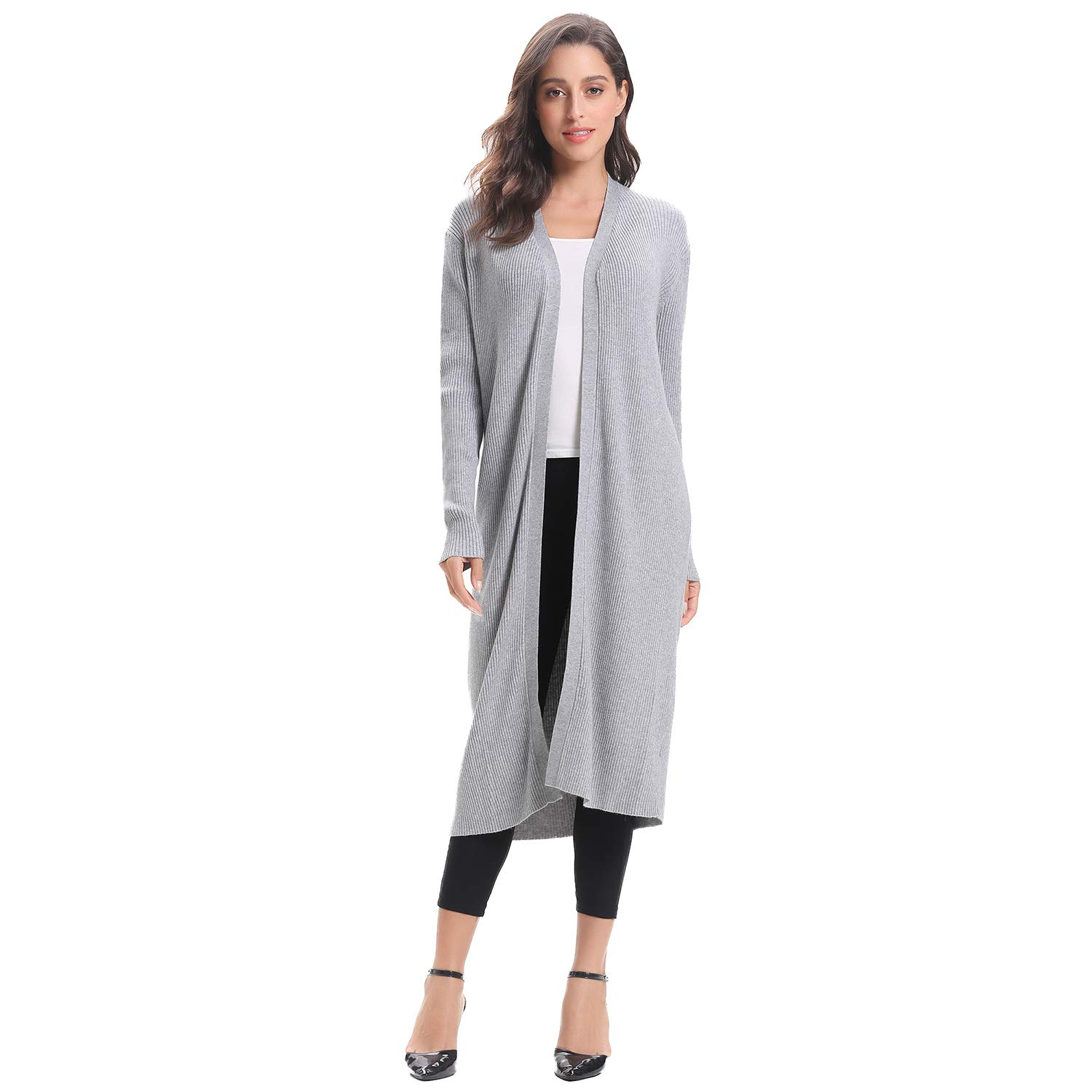 Luxspire Women's Cardigan Sweater, Long Casual Open Front Coat, Soft Lightweight Long Sleeve Knit Cardigan