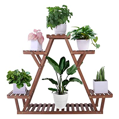 Pine Wood Plant Stand Indoor Outdoor Carbonized Triangle 6 Tiered Corner Plant Rack Shelf Holder for Balcony Garden Flower Pot Storage Organizer (Large, Upgrade Screw with Nut Gasket Heavy Duty, Stable) : Garden & Outdoor