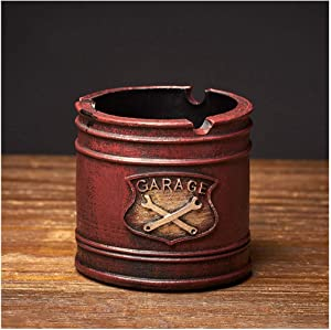 LZG Industrial Rustic Resin Ashtray for Cigarettes, Cool Vintage Round Ash Tray Holder Home Decor for Smokers (Color : Red)