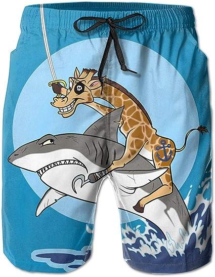 Mens Shark Riding Quick Dry Summer Boardshort Swimm Surf Trunk Short Beach Pant White