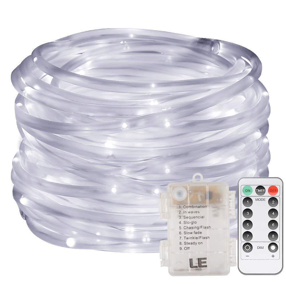 LE 33ft 120 LED Dimmable Rope Lights, Battery Powered, Waterproof, 8 Modes/Timer, Warm White Outdoor Decorative Light Mood Lighting for Garden Patio Party Christmas Thanksgiving Lighting EVER