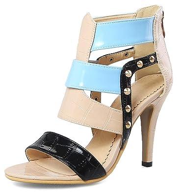 2e67f5804 Mofri Women s Gladiator Rivets Color Block Open Toe High Heels Sandals with  Zipper (Beige