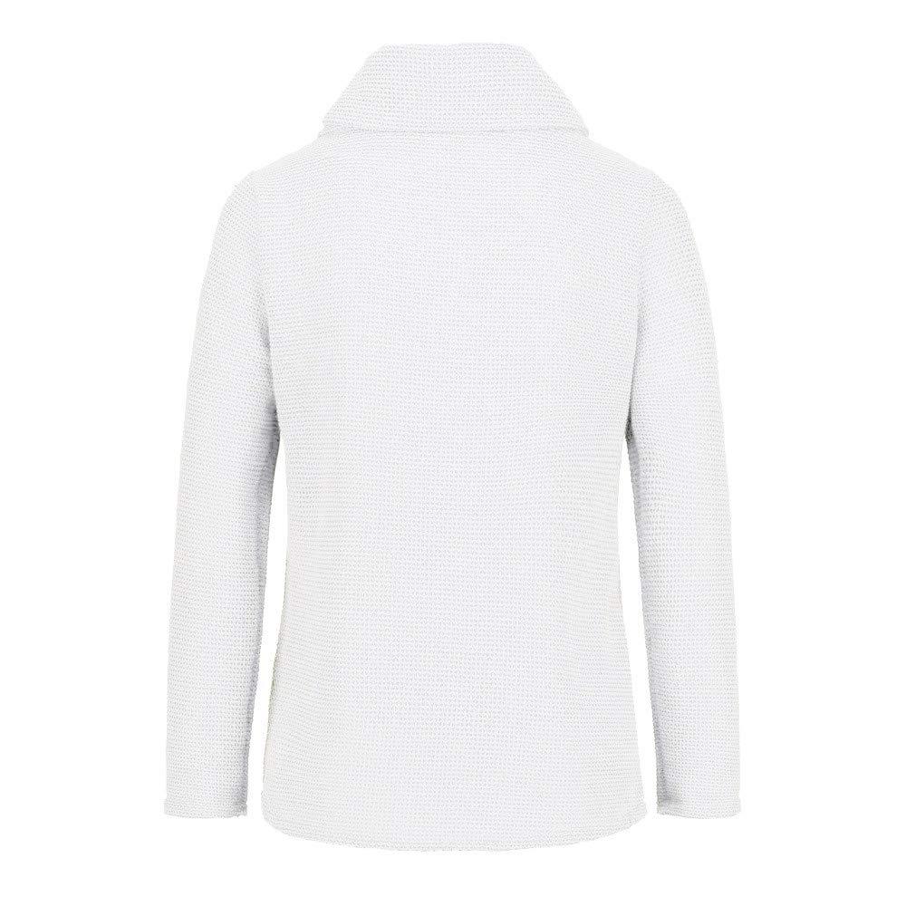 HULKAY Womens Tops Sale Long Sleeve Irregular Pile Collar Tee-Shirt Stylish Casual Cardigan Knitted Blouse