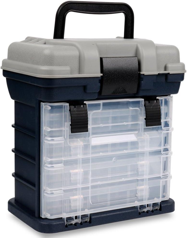 Sougayilang Fishing Tackle Box Portable 4 Layers Fishing Box Sea Boat Fishing Accessory Box Case with Handle Utility Box-Small Size