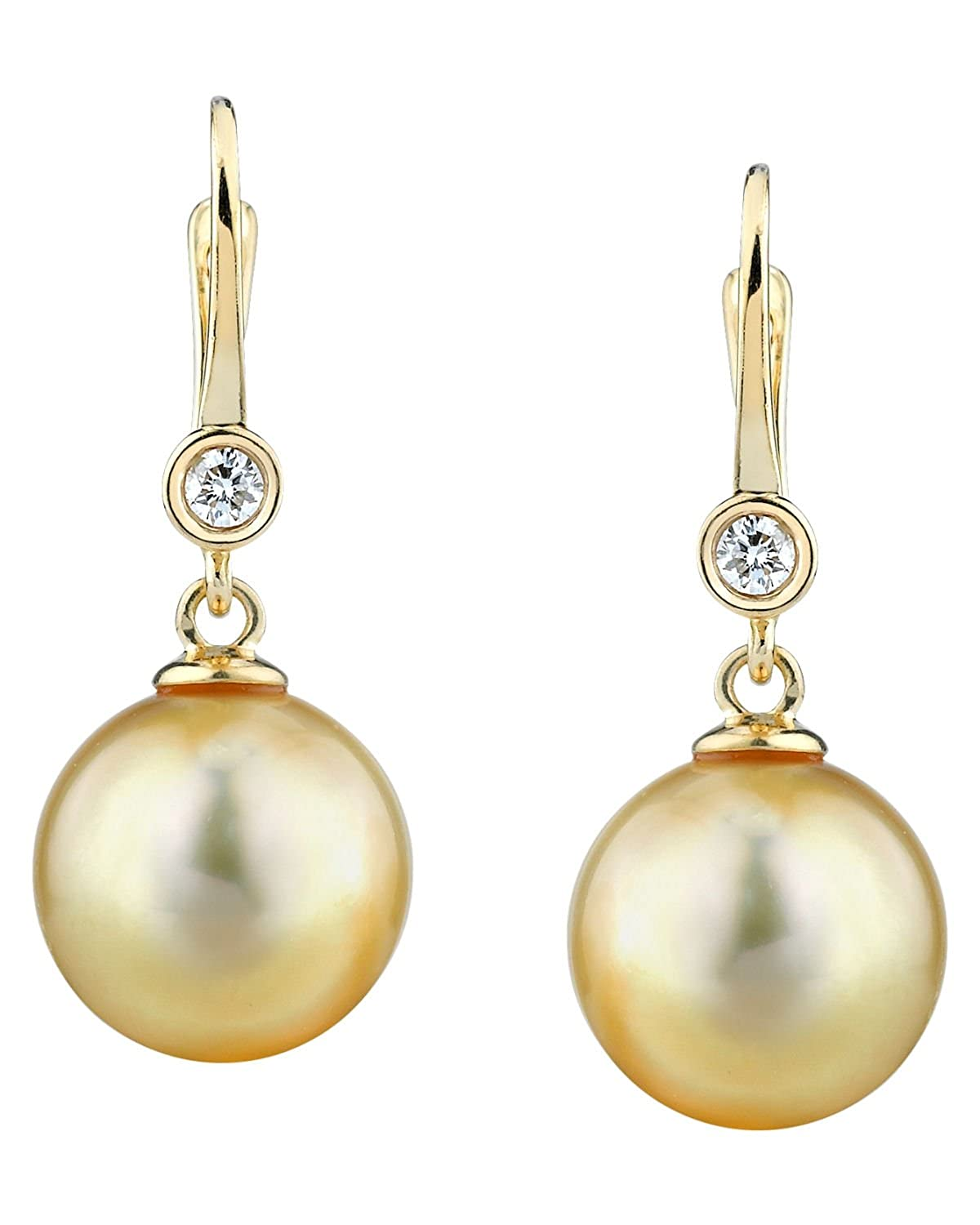 14K Gold Golden South Sea Cultured Pearl & Diamond Michelle Earrings