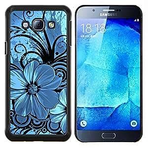 "Be-Star Único Patrón Plástico Duro Fundas Cover Cubre Hard Case Cover Para Samsung Galaxy A8 / SM-A800 ( Azul y Negro floral"" )"