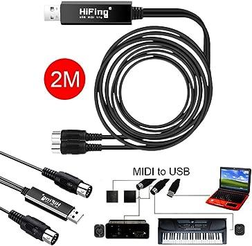 Cable USB MIDI, adaptador de 2 m USB a 2 MIDI para PC y teclado de música, adaptador de sincronización de Windows y Mac iOS 2 metros