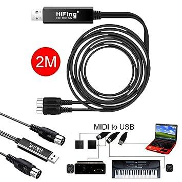 Cable USB MIDI, adaptador de 2 m USB a 2 MIDI para PC y teclado de música, adaptador de sincronización de Windows y Mac iOS 2 metros: Amazon.es: Electrónica