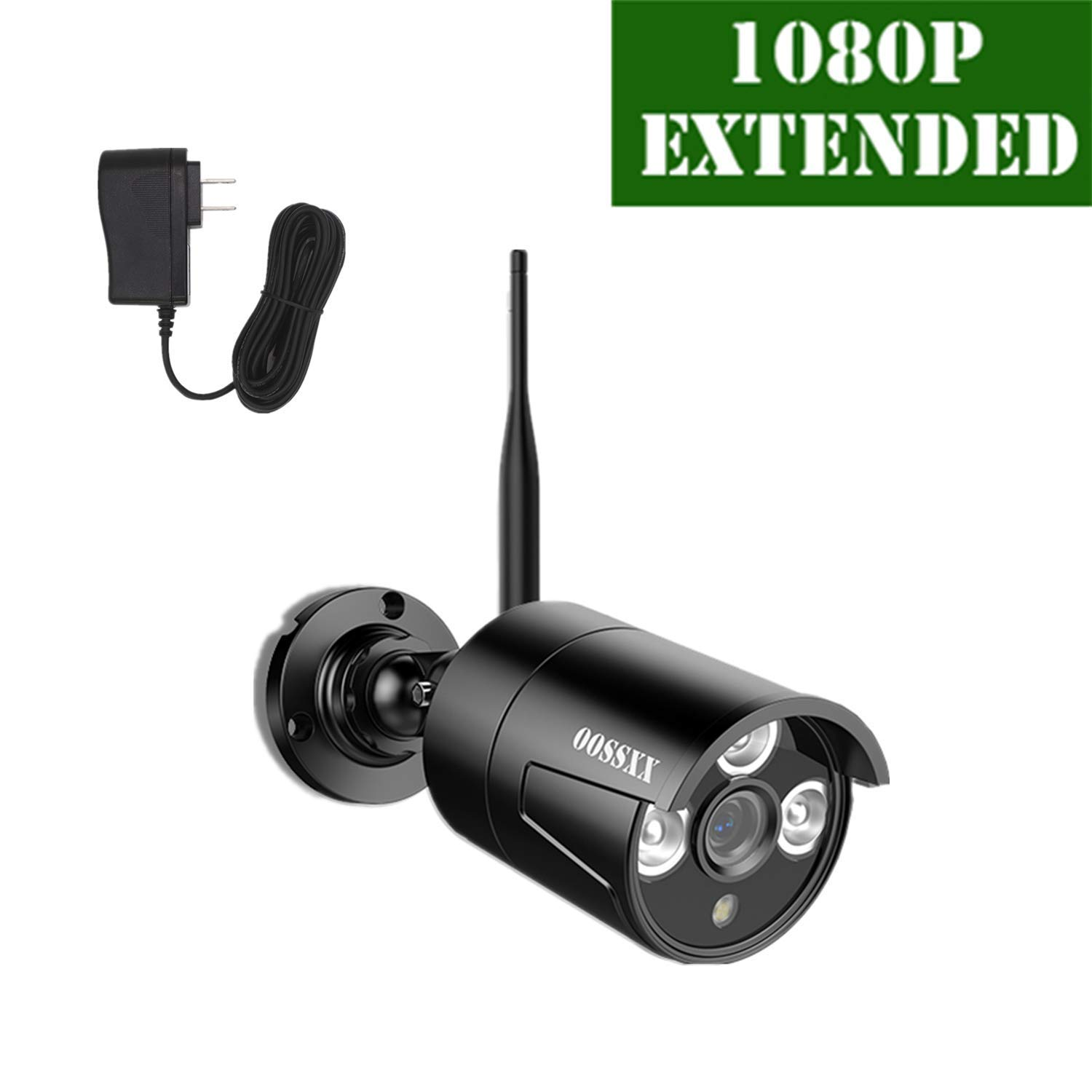 OOSSXX Outdoor Indoor Video Surveillance Security Waterproof Black Camera,Home IP 1080P Black Camera,Night Vision,just Extend for OOSSXX WiFi Kits