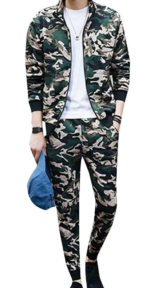 Green US Small CRYYU Men Basic Zipper Camouflage Casual Track Suit Sport Sweat Suit Set