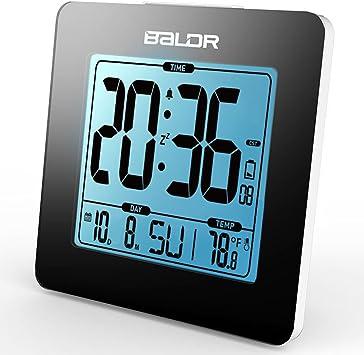 Hstyle Atomique Réveil rétro éclairage Bleu Horloge de Table avec le Temps, Calendrier, Affichage de la Température en Noir