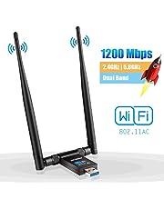 Clé WiFi Dongle Adaptateur USB sans Fil AC 1200Mbps Double Bande 2.4GHz/300Mbps 5GHz/867Mbps Double 5dBi Réseau Antennes pour PC Windows XP/Vista/7/8/10 Linux Mac OS