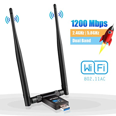 Adaptador Antena WiFi USB 3.0 Dongle Receptor Inalámbrico 1200Mbps Doble Banda 5GHz/867Mbps 2.4GHz
