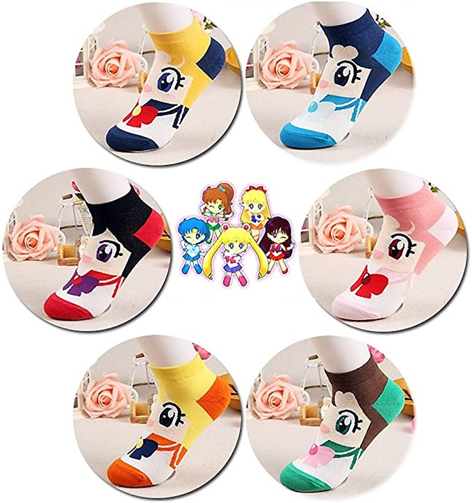 One Size Sailor Moon Japanese Manga Cartoon Character Low Cut Fashion Socks