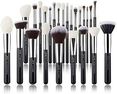 Jessup Brand 25pcs Professional Makeup Brush set Beauty Cosmetic Foundation Power Blushes eyelashes Lipstick Natural-Synthetic Hair Brushes set … (Black+Silver)