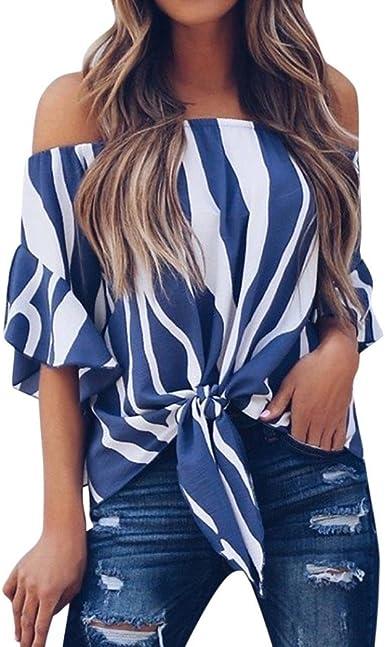 Mujeres De Hombro Camisetas Blusa De Corbata De Cintura Blusas De ...